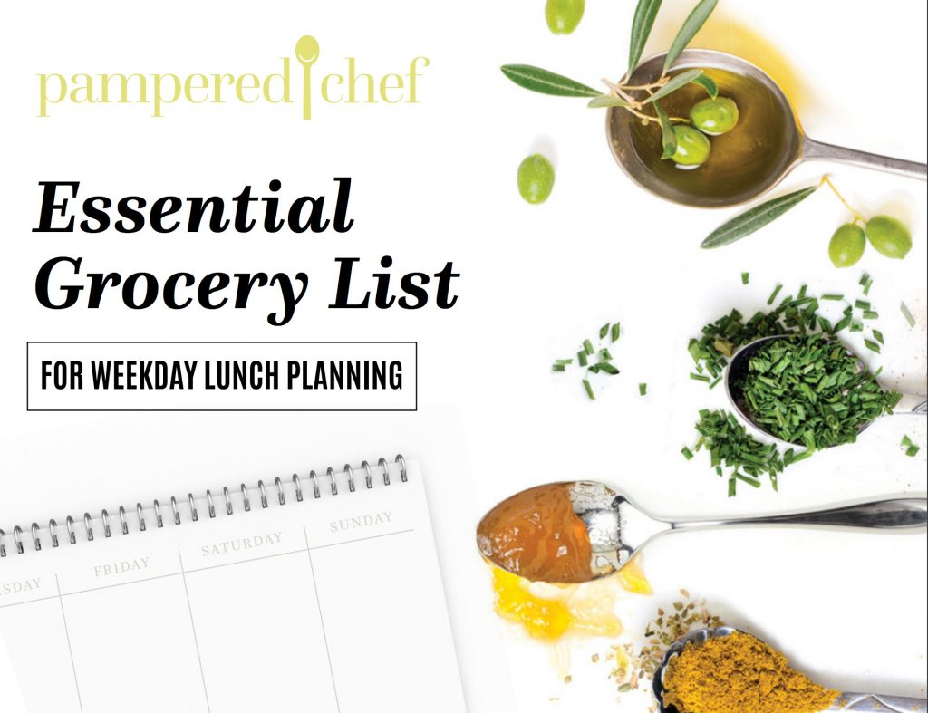 pampered chef essential grocery list for weekday lunch planning