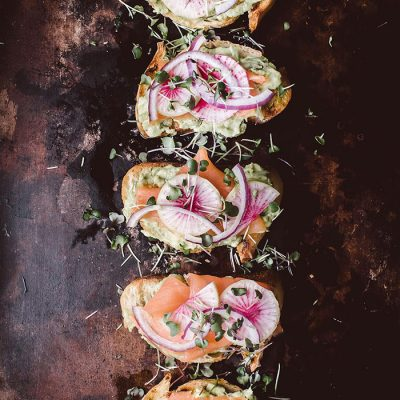 Avocado Toasts With Smoked Salmon & Watermelon Radishes