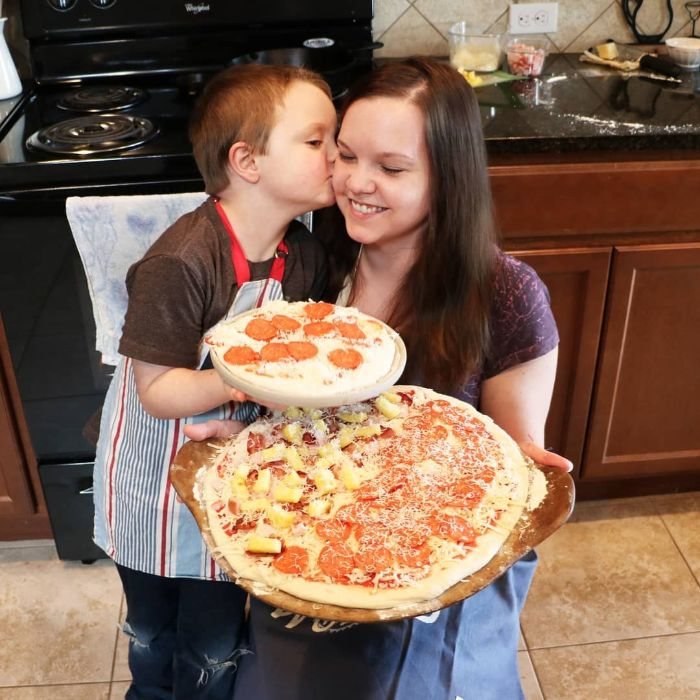Mom and Son Making Pizza Together