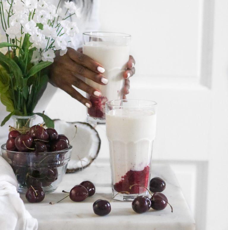 Roasted Cherry Coconut Milkshakes