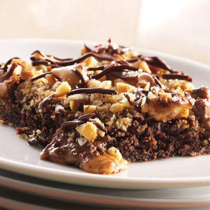 Warm Nutty Caramel Brownies